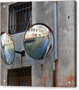Canals Reflected In Mirrors In Venice Italy Acrylic Print
