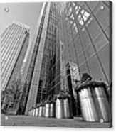 Canary Wharf Financial District In Black And White Acrylic Print