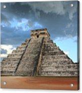 Cancun Mexico - Chichen Itza - Temple Of Kukulcan-el Castillo Pyramid 3  Acrylic Print