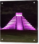 Cancun Mexico - Chichen Itza - Temple Of Kukulcan-el Castillo Pyramid Night Lights 2 Acrylic Print
