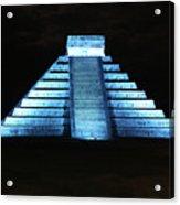 Cancun Mexico - Chichen Itza - Temple Of Kukulcan-el Castillo Pyramid Night Lights 3 Acrylic Print
