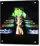 Cancun Mexico - Chichen Itza - Temple Of Kukulcan-el Castillo Pyramid Night Lights 5 Acrylic Print