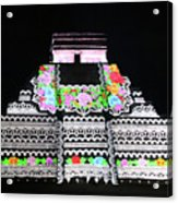 Cancun Mexico - Chichen Itza - Temple Of Kukulcan-el Castillo Pyramid Night Lights 8 Acrylic Print