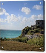 Cancun Mexico - Tulum Ruins - Temple For God Of The Wind 1 Acrylic Print