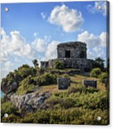 Cancun Mexico - Tulum Ruins - Temple For God Of The Wind 2 Acrylic Print