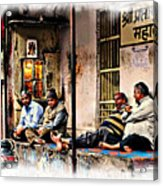 Candid Bored Yawn Pj Exotic Travel Blue City Streets India Rajasthan 1a Acrylic Print