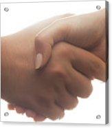 Candid Handshake On White Background. Strong Backlight Acrylic Print