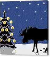 Candlelit Christmas Tree And Moose In The Snow Acrylic Print
