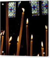 Candles Burning Inside The Basilica Of The Saint Sauveur Acrylic Print