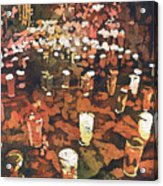 Candles In Graveyard During Day Of The Dead In Patzcuaro, Mexico Acrylic Print