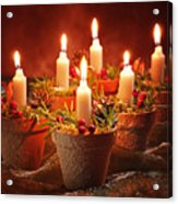 Candles In Terracotta Pots Acrylic Print by Amanda Elwell