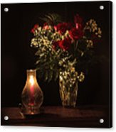 Candlestick And Roses Acrylic Print