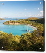 Caneel Bay Panorama Acrylic Print by George Oze