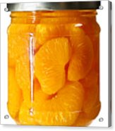 Canned Mandarin Oranges In Glass Jar Acrylic Print