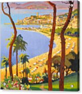 Cannes Vintage Travel Poster Acrylic Print