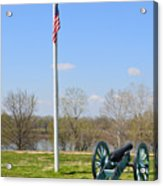 Cannon And Flagpole Overlooking River Acrylic Print