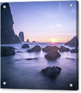 Cannon Beach Rocks Sunset Acrylic Print
