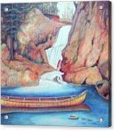 Canoe And Waterfall Acrylic Print
