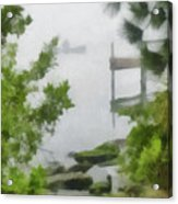 Canoe In Lake Fog Acrylic Print