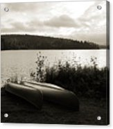 Canoe On A Shore Of A Lake At Dawn Acrylic Print