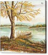 Canoe Tied By Tree Acrylic Print