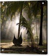 Canoe Under Palm Trees In Kerala, India Acrylic Print