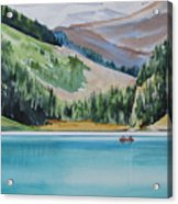 Canoeing-in-lake-louise Acrylic Print