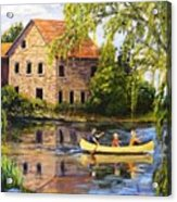Canoeing Past The Mill Acrylic Print