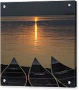 Canoes At Sunrise Acrylic Print