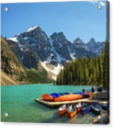 Canoes On A Jetty At  Moraine Lake In Banff National Park, Canada Acrylic Print