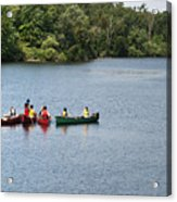 Canoes On Lake Acrylic Print by Blink Images