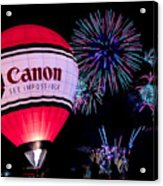 Canon - See Impossible - Hot Air Balloon With Fireworks Acrylic Print