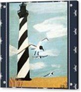 Cape Hatteras Lighthouse - Ship Wheel Border Acrylic Print