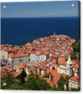 Cape Madonna At Point Of Piran Slovenia On Blue Adriatic Sea Wit Acrylic Print