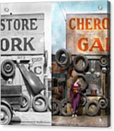 Car - Garage - Cherokee Parts Store - 1936 - Side By Side Acrylic Print