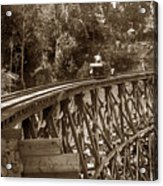 Car On A Wooden Railroad Trestle Circa 1916 Acrylic Print