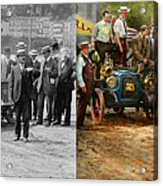 Car - Race - The End Of A Long Journey 1906 - Side By Side Acrylic Print