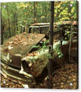 Car Wreck In The Forest Acrylic Print