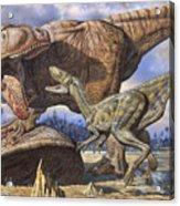 Carcharodontosaurus Guards Its Kill Acrylic Print by Mark Hallett