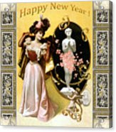 Card New Year Wishes Acrylic Print