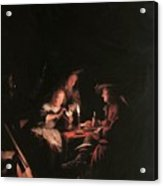 Card Players At Candlelight Acrylic Print