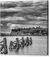 Cardiff Bay Dolphins Mono Acrylic Print