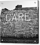 Care Graffiti Building Acrylic Print by Alanna Pfeffer