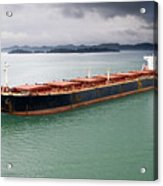 Cargo Ship Under Stormy Sky Acrylic Print