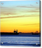 Cargo Ships At Sunset Acrylic Print
