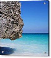 Caribbean Beach Rock Tulum Mexico Acrylic Print