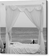 Caribbean Relaxation Bed Single Vertical - Height For Triptych Black And White Acrylic Print