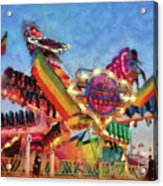 Carnival - A Most Colorful Ride Acrylic Print by Mike Savad