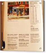 Carole Spandau Listed In  Magazin'art Biennial Guide To Canadian Artists In Galleries 2000-2001 Edit Acrylic Print