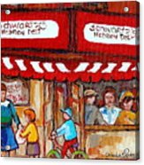 Carole Spandau Paints Montreal Memories - Montreal Landmarks - Schwartzs Hebrew Deli St. Laurent  Acrylic Print